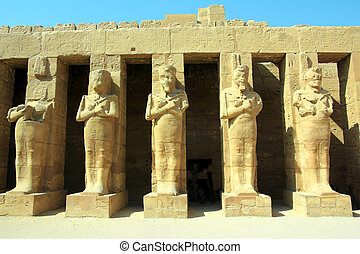 ancient statues in Luxor karnak temple