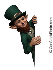 Leprechaun Looking Over an Edge or Border - A curious...
