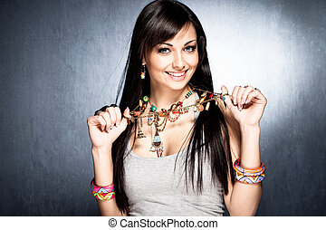 necklace with pendants - pretty woman show her colorful...