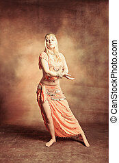 belly dance - exotic belly dancer woman, small amount of...