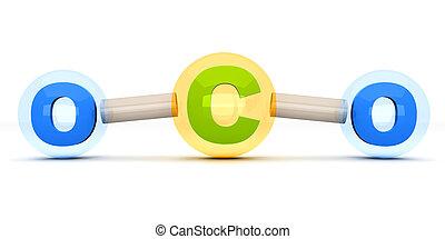 CO2 Molecule - A symbolic CO2 Molecule, responsible for...