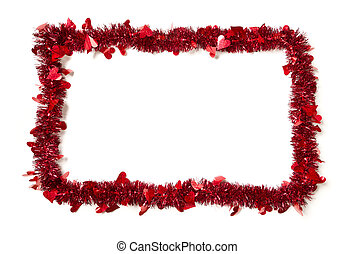 Red Tinsel with Hearts Border Frame Shape on a White...