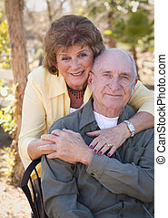 Senior Woman with Man Wearing Oxygen Tubes - Senior Woman...
