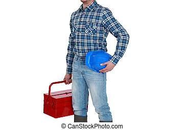 A tradesman arriving at work