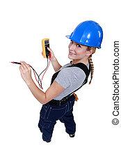 électricien, voltmètre, femme