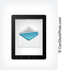 Set of Tablet PC on Grey Gradient Background. Vector.