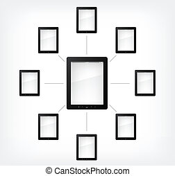 Set of Tablet PC on Grey Gradient Background Vector