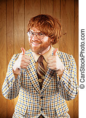 Happy Nerdy 60s Game Show Host Giving 2 Thumbs Up - Excited...
