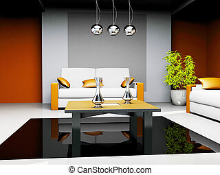 office waiting room in a drawing 3d image