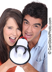Couple with megaphone