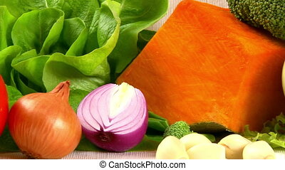 Vegetables, food - Vegetables, camera dolly, closeup