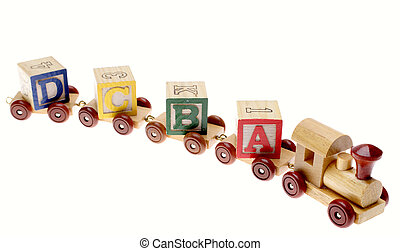 Toy train and learning blocks