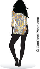 Girl posing - Vector silhouette of a girl posing