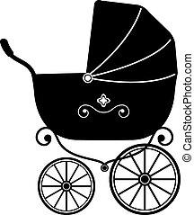 Baby Stroller Silhouette - Baby Stroller over white...
