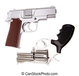 Handguns - Two handguns on plain background