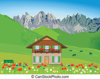 House in front of mountain backdrop