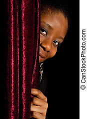Shy african woman - Young African Ghanese woman hiding shy...