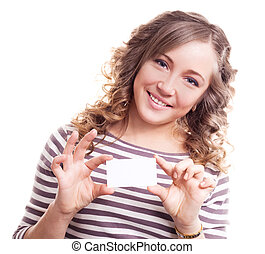 woman with a business card - beautiful young blond curly...
