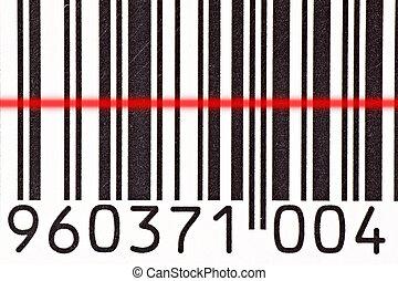 barcode reader scanning a bar code - Laser barcode reader...