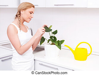 housewife with flowers