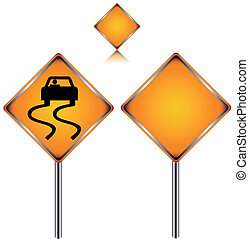 Traffic signs - Three traffic signs in different variants on...