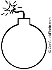 Outlined Bomb Cartoon Character