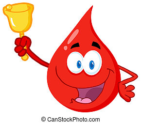 Blood Guy Ringing A Bell - Happy Red Blood Drop Character...