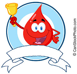 Red Blood Drop Waving A Bell - Blood Guy Ringing A Bell Over...