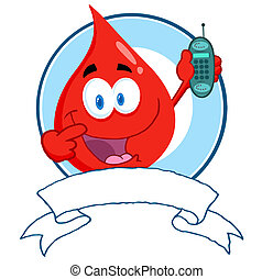 Blood Guy Holding A Cell Phone Over A Banner