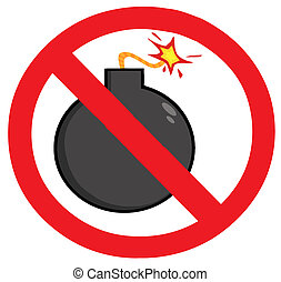 Stop Bombing Sign Cartoon Character