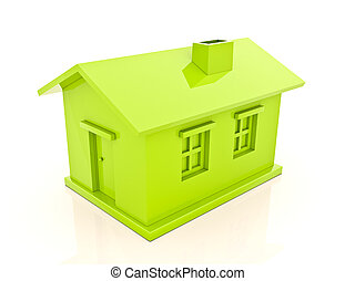 Simple house - Green house isolated on white background, 3d...