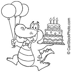 Outlined Crocodile - Outlined Birthday Crocodile Holding Up...