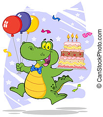 Crocodile Holding Up A Cake - Birthday Alligator Holding Up...