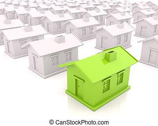 Many houses - A lot like ordinary houses on a light...