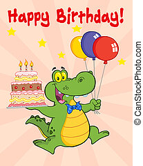 Greeting Card With Happy Crocodile Holding Up A Birthday...
