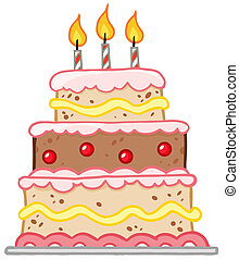 Birthday Cake With Three Candles Cartoon Character