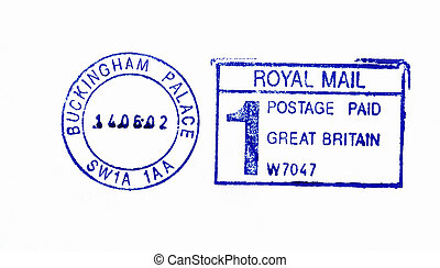 Buckingham Palace postmark - Close up of official post...