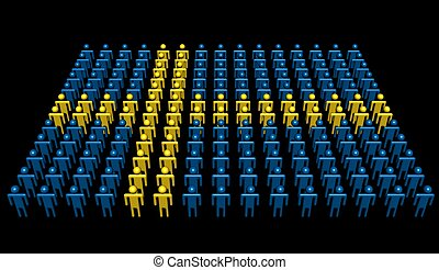 people in colours of Swedish flag illustration