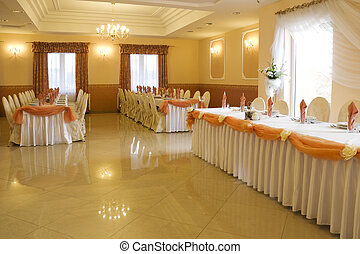 Wedding reception interior - Restaurant interior set before...