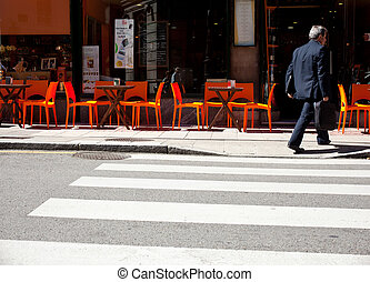 Businessman on the pedestrian crossing - A businessman on...