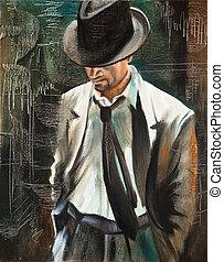 cigarette, homme,  portrait