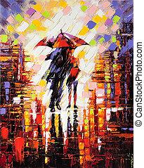 deux, enamoured, sous, parapluie