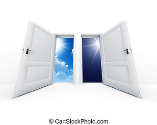 White opened doors with day and night observe in outdoor