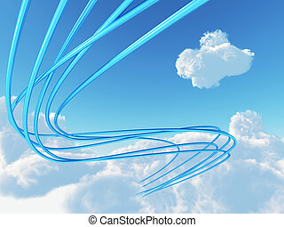 blue metallic cables connected to cloud an invironment of...