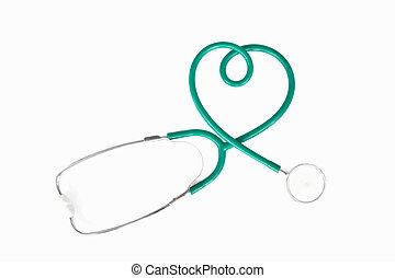 stethoscope - Heart shaoe stethoscope on white background.