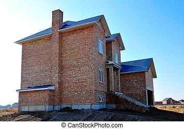 large brick unfinished house