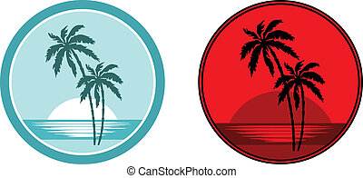 Tropical beach with palm trees. - Vector illustration, color...