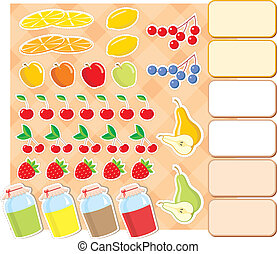 Scrapbook elements with fruits and - Vector illustration,...