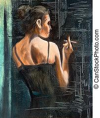 portrait, femme, cigarette