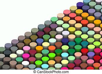 isometric 3d render of cylinders in multiple bright colors